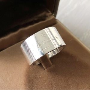 GUCCI Trademark Logo Sterling Silver Ring Size 10